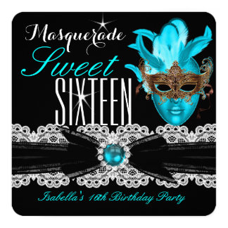 Masquerade Sweet Sixteen Sweet 16 Teal Blue 3 Invitation Cards