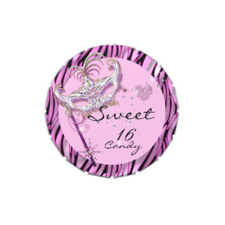Masquerade Sweet Sixteen Sweet 16 Zebra Favor Jelly Belly Candy Tin