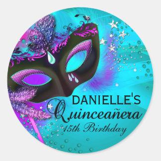 Masquerade Teal Purple Quinceanera Sticker