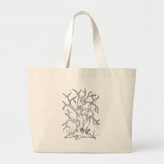 Masquerade Tree Line Art Design Large Tote Bag