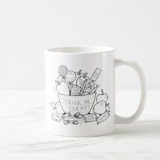 Masquerade Trick Or Treat Bowl Line Art Design Coffee Mug