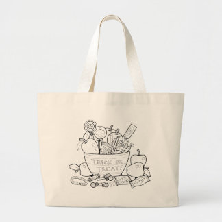 Masquerade Trick Or Treat Bowl Line Art Design Large Tote Bag