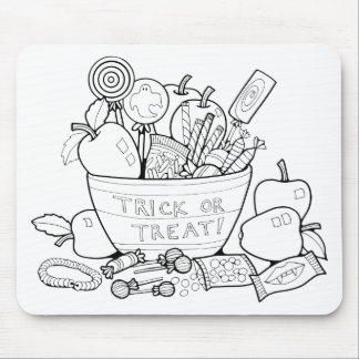 Masquerade Trick Or Treat Bowl Line Art Design Mouse Pad