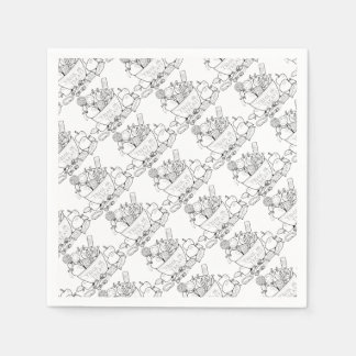 Masquerade Trick Or Treat Bowl Line Art Design Paper Napkin