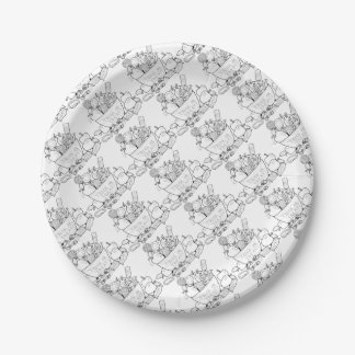 Masquerade Trick Or Treat Bowl Line Art Design Paper Plate