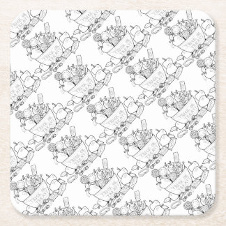 Masquerade Trick Or Treat Bowl Line Art Design Square Paper Coaster