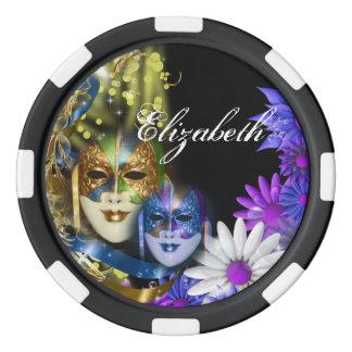 Masquerade Venetian masks girls name Poker Chip Set