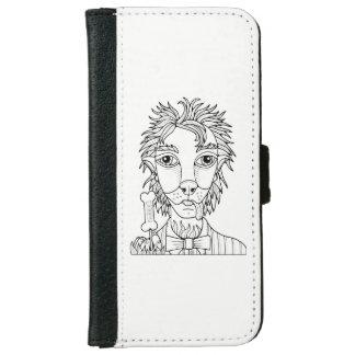Masquerade Werewolf Line Art Design iPhone 6 Wallet Case