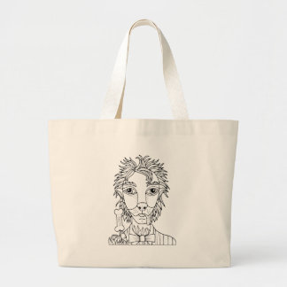 Masquerade Werewolf Line Art Design Large Tote Bag