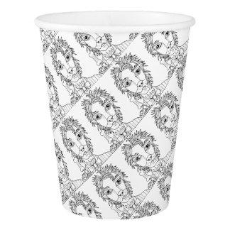 Masquerade Werewolf Line Art Design Paper Cup