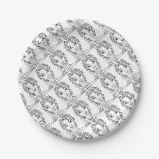 Masquerade Werewolf Line Art Design Paper Plate