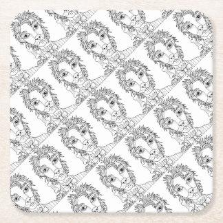 Masquerade Werewolf Line Art Design Square Paper Coaster