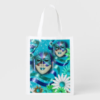 Masquerade wild flower | blue green reusable grocery bag