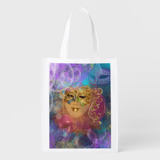 Masquerade woman gold mask market tote