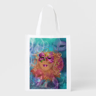 Masquerade woman pink gold mask grocery bags