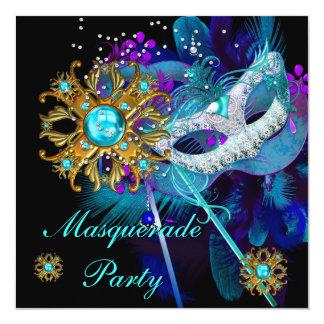 Masques turquoises de noir bleu de partie de boule carton d'invitation  13,33 cm
