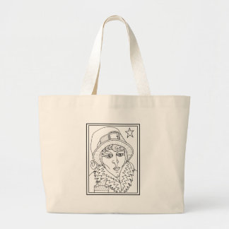Masqurade Witch Frog Line Art Design Large Tote Bag