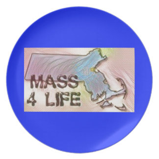 """Massachusetts 4 Life"" State Map Pride Design Plate"
