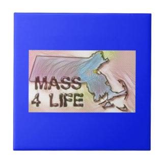 """""""Massachusetts 4 Life"""" State Map Pride Design Tile"""