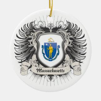 Massachusetts Crest Ceramic Ornament