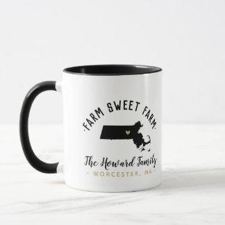 Massachusetts Farm Sweet Farm Family Monogram Mug