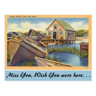 Massachusetts, Fishing Shanty, Cape Cod Postcard