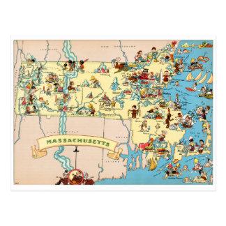 Massachusetts Funny Vintage Map Postcard