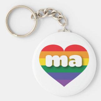 Massachusetts gay pride rainbow heart - mini love keychain