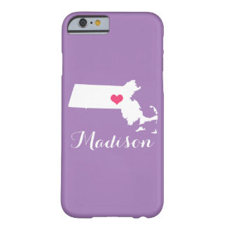 Massachusetts Heart Lilac Custom Monogram Barely There iPhone 6 Case