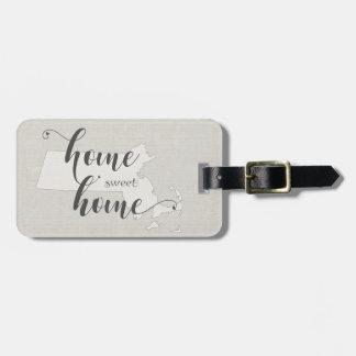 Massachusetts- Home Sweet Home burlap-look Luggage Tag
