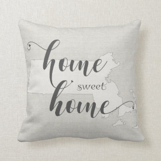 Massachusetts - Home Sweet Home burlap-look Throw Pillow