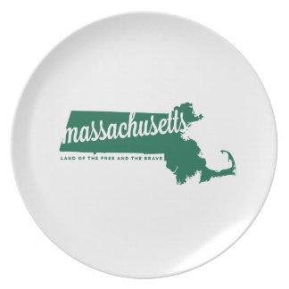 massachusetts | land of the free | green plate