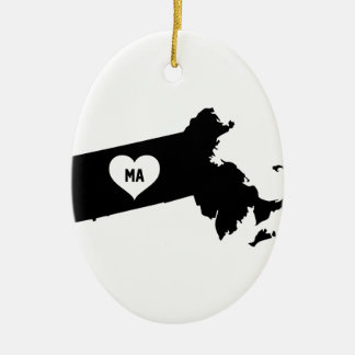 Massachusetts Love Ceramic Ornament