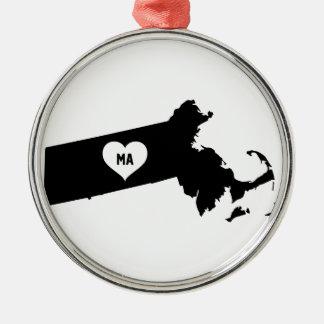 Massachusetts Love Metal Ornament