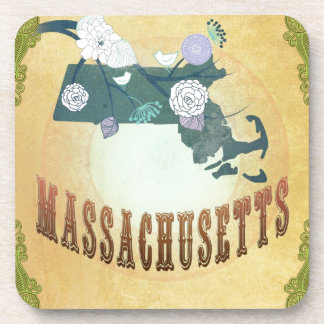 Massachusetts Map With Lovely Birds Coaster