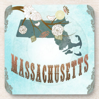 Massachusetts Map With Lovely Birds Drink Coaster