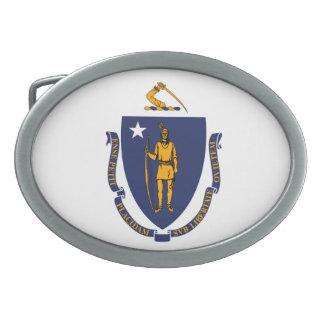 Massachusetts State Flag Design Oval Belt Buckle