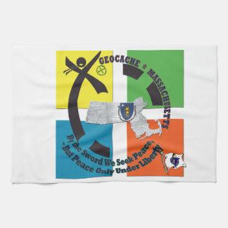 MASSACHUSETTS STATE MOTTO GEOCACHER HAND TOWELS