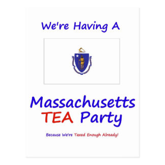 Massachusetts TEA Party We're Taxed Enough Already Postcard