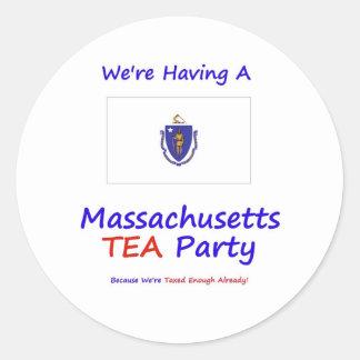 Massachusetts TEA Party We're Taxed Enough Already Round Sticker