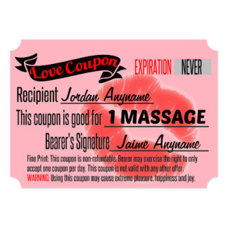 """MASSAGE Love Coupon with Lips 5"""" X 7"""" Invitation Card"""