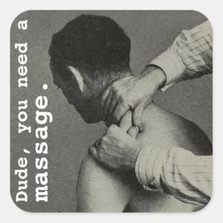 Massage personnalisable drôle vintage sticker carré