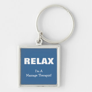 Massage Relax (customizable) Silver-Colored Square Keychain