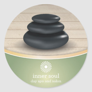 Massage Stones on Wood Spa Sage Green Round Sticker