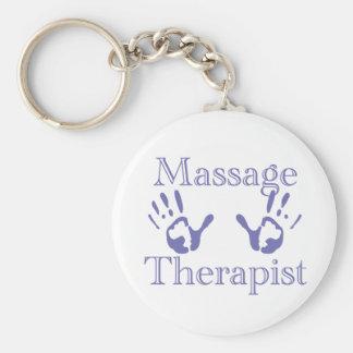 Massage Therapist: Blue Hand Prints Basic Round Button Keychain