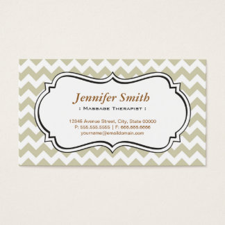 Massage Therapist - Chevron Simple Jasmine Business Card