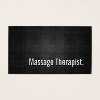 Massage Therapist Cool Black Metal Simplicity Business Card