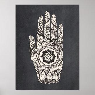 Massage Therapist Henna Tattoo Hand Lotus Art Poster