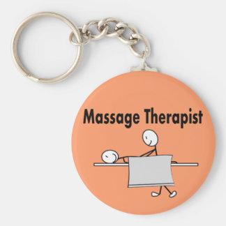Massage Therapist Stick Person Basic Round Button Keychain