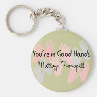 "Massage Therapist ""YOU'RE IN GOOD HANDS"" Basic Round Button Keychain"